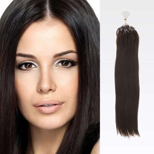 "16"" Dark Brown(#2) 100S Micro Loop Remy Human Hair Extensions"
