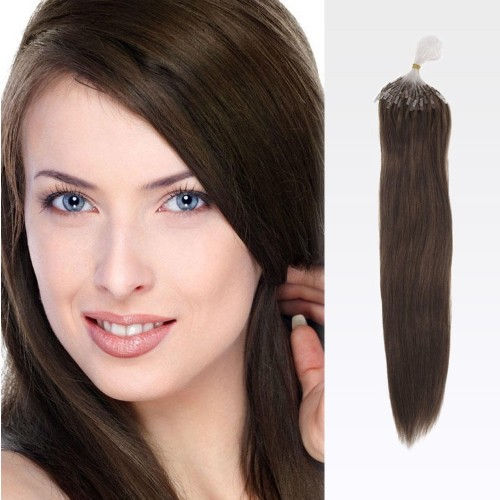 "20"" Medium Brown(#4) 100S Wavy Micro Loop Remy Human Hair Extensions"
