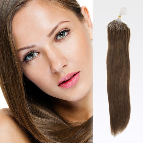 "20"" Ash Brown(#8) 100S Micro Loop Remy Human Hair Extensions"