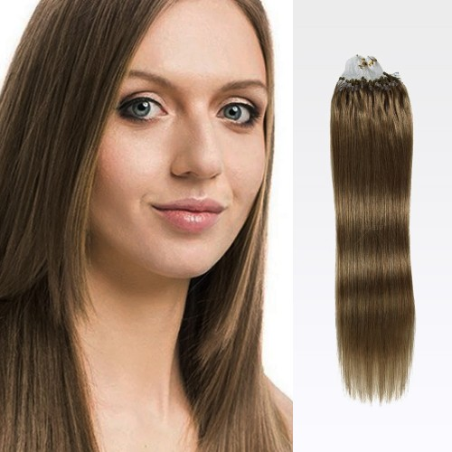 "24"" Golden Brown(#12) 100S Micro Loop Remy Human Hair Extensions"
