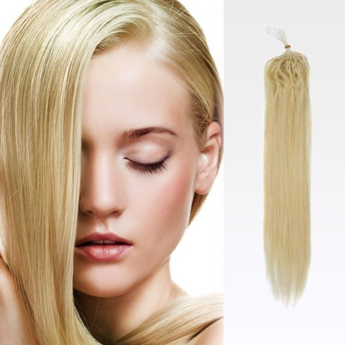 "14"" Ash Blonde(#24) 100S Micro Loop Remy Human Hair Extensions"