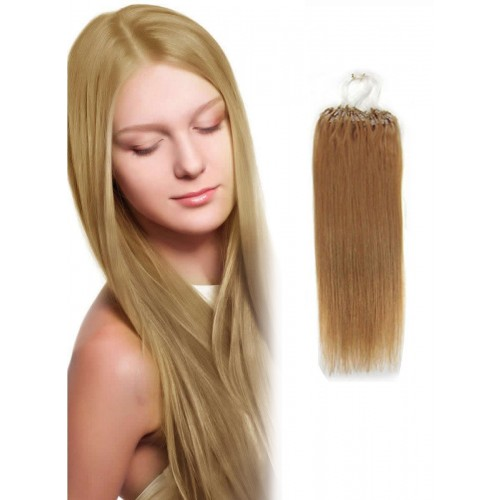 "14"" Strawberry Blonde(#27) 100S Micro Loop Remy Human Hair Extensions"