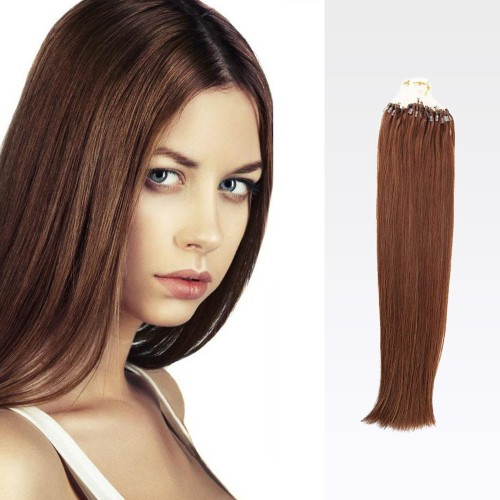 "20"" Dark Auburn(#33) 100S Curly Micro Loop Remy Human Hair Extensions"
