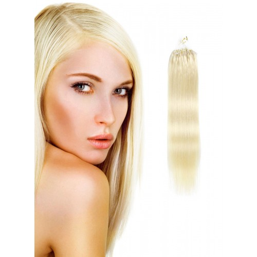 "16"" White Blonde(#60) 100S Micro Loop Human Hair Extensions"