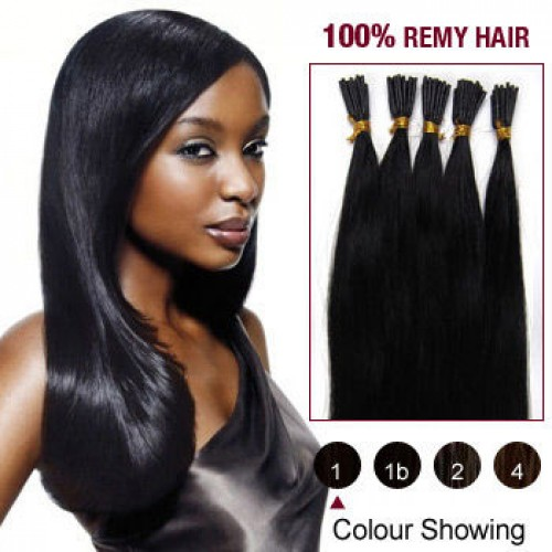 "16"" Jet Black(#1) 100S Stick Tip Remy Human Hair Extensions"
