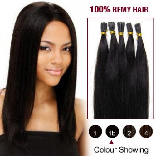 "24"" Natural Black(#1b) 100S Stick Tip Remy Human Hair Extensions"