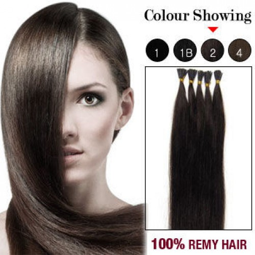 "18"" Dark Brown(#2) 100S Stick Tip Remy Human Hair Extensions"