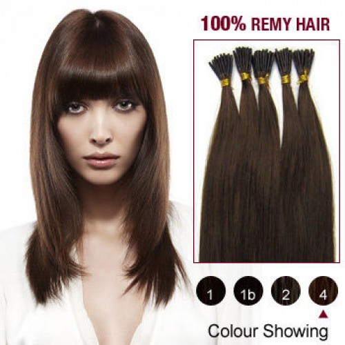 "22"" Medium Brown(#4) 100S Stick Tip Remy Human Hair Extensions"