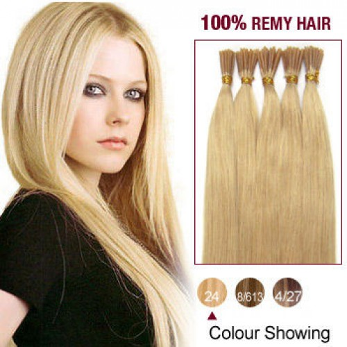 "18"" Ash Blonde(#24) 100S Stick Tip Remy Human Hair Extensions"