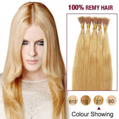 "20"" Strawberry Blonde(#27) 100S Stick Tip Remy Human Hair Extensions"