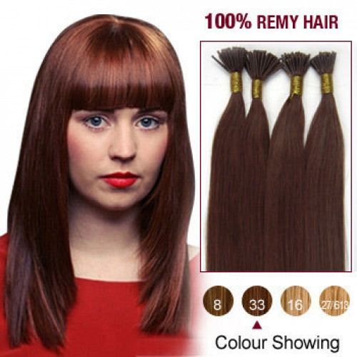 "22"" Dark Auburn(#33) 100S Stick Tip Remy Human Hair Extensions"