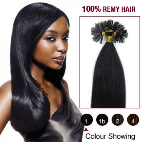"18"" Jet Black(#1) 100S Nail Tip Remy Human Hair Extensions"