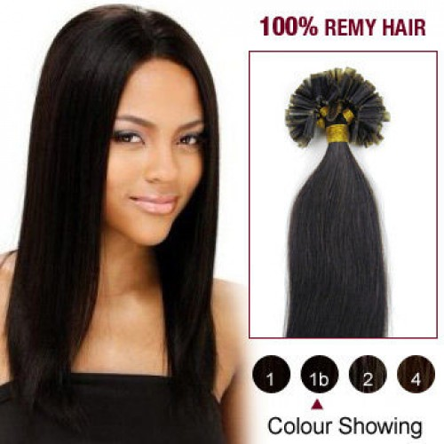 "20"" Natural Black(#1b) 100S Nail Tip Remy Human Hair Extensions"