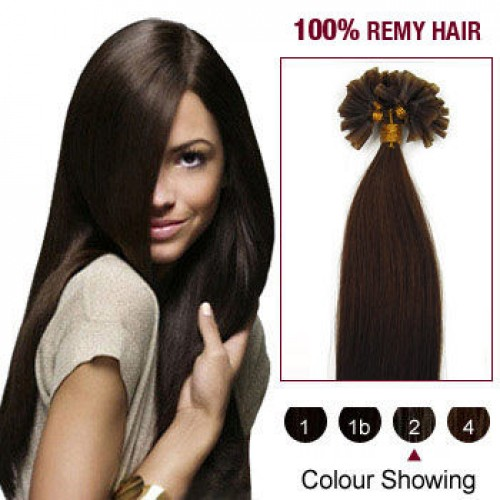 "16"" Dark Brown(#2) 100S Nail Tip Human Hair Extensions"