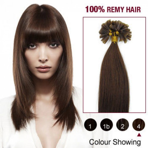 "22"" Medium Brown(#4) 100S Nail Tip Remy Human Hair Extensions"