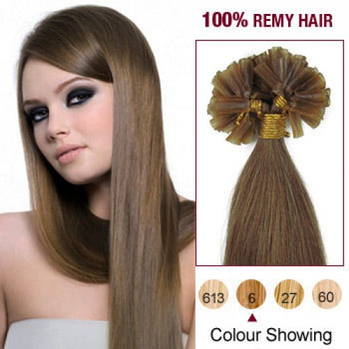 "18"" Light Brown(#6) 100S Nail Tip Human Hair Extensions"