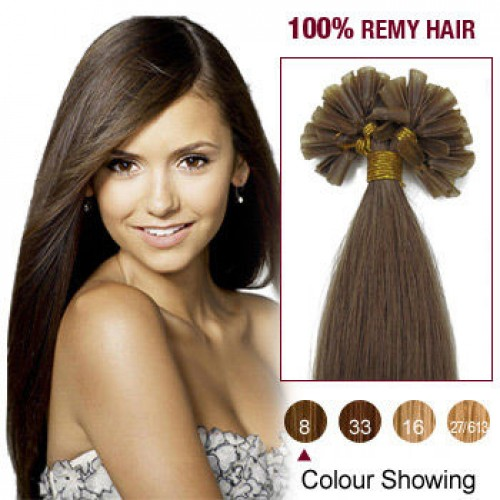 "20"" Ash Brown(#8) 100S Nail Tip Remy Human Hair Extensions"