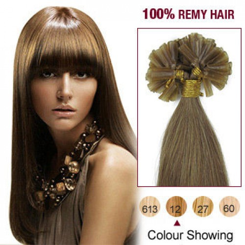 "26"" Golden Brown(#12) 100S Nail Tip Remy Human Hair Extensions"