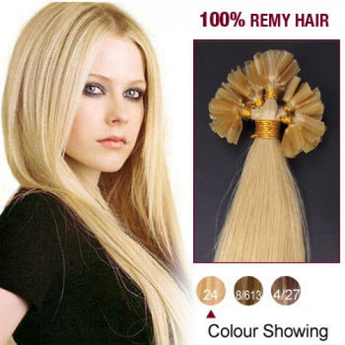 "16"" Ash Blonde(#24) 100S Nail Tip Remy Human Hair Extensions"