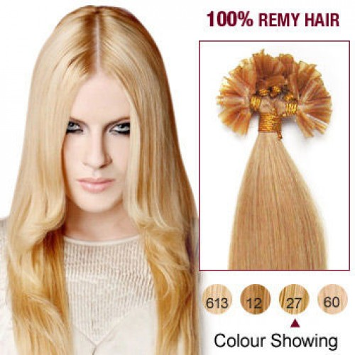 "14"" Strawberry Blonde(#27)100S Nail Tip Human Remy Human Hair Extensions"