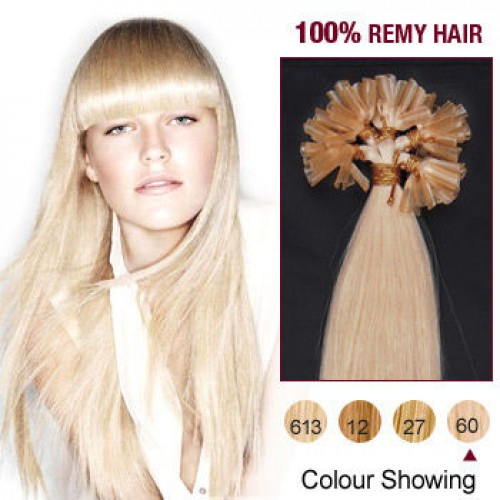 "20"" White Blonde(#60) 100S Nail Tip Remy Human Hair Extensions"