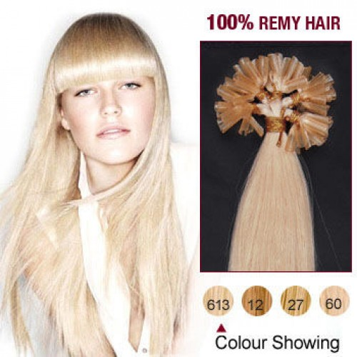 "16"" Bleach Blonde(#613) 100S Nail Tip Remy Human Hair Extensions"