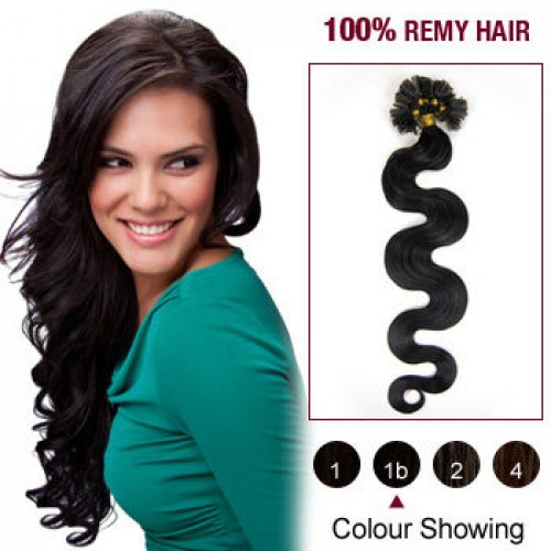 "20"" Natural Black(#1b) 100S Wavy Nail Tip Remy Human Hair Extensions"