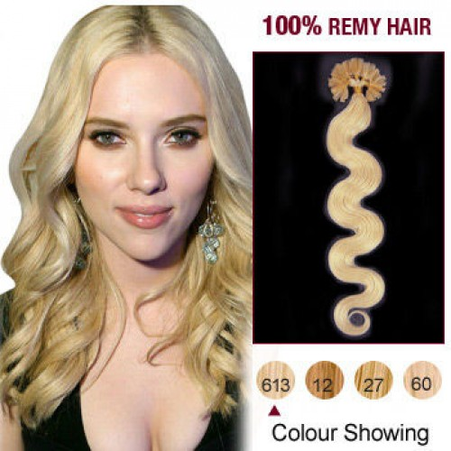 "20"" Bleach Blonde(#613) 100S Wavy Nail Tip Remy Human Hair Extensions"