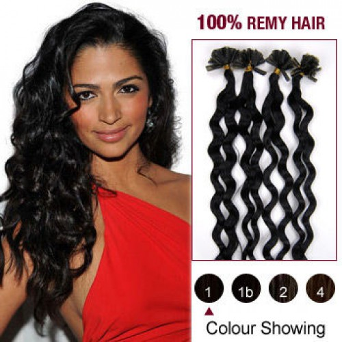 "20"" Jet Black(#1) 100S Curly Nail Tip Remy Human Hair Extensions"