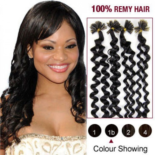 "20"" Natural Black(#1b) 100S Curly Nail Tip Remy Human Hair Extensions"