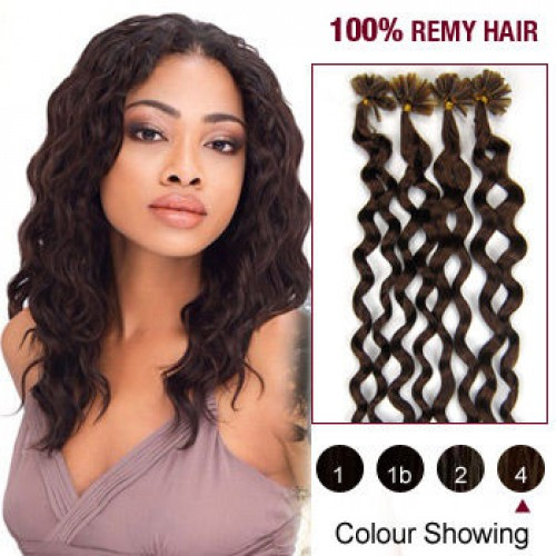 "20"" Medium Brown(#4) 100S Curly Nail Tip Remy Human Hair Extensions"