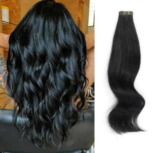 "20"" Jet Black(#1) 20pcs Tape In Human Hair Extensions"