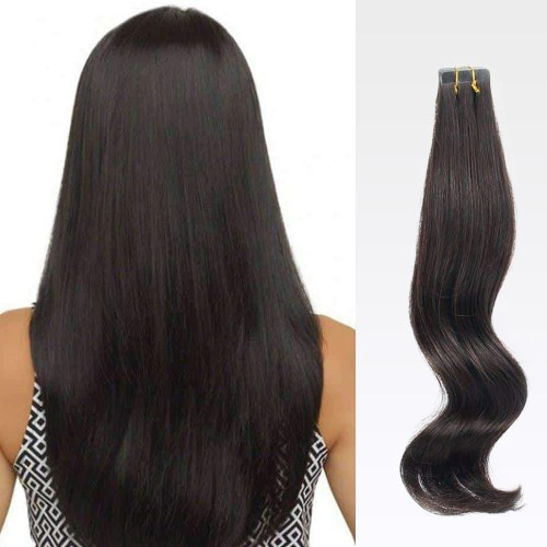 "24"" Natural Black(#1b) 20pcs Tape In Human Hair Extensions"