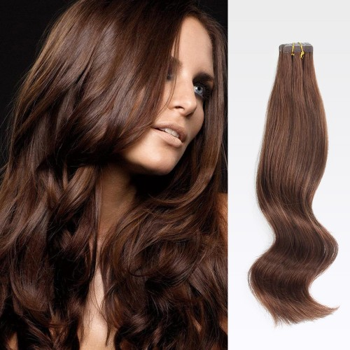 "24"" Medium Brown(#4) 20pcs Tape In Human Hair Extensions"