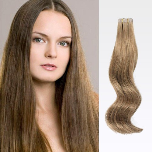 "20"" Ash Brown(#8) 20pcs Tape In Human Hair Extensions"