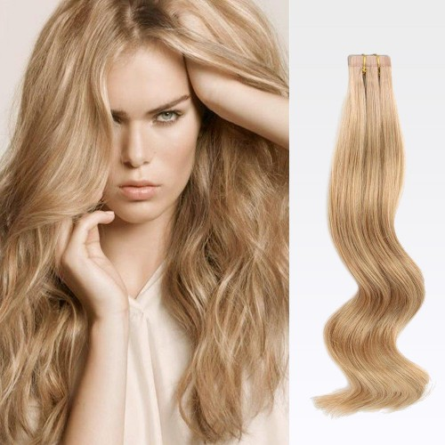 "26"" Golden Brown(#12) 20pcs Tape In Human Hair Extensions"