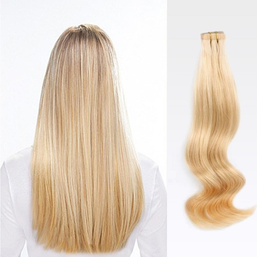 "14"" Golden Blonde(#16) 20pcs Tape In Human Hair Extensions"