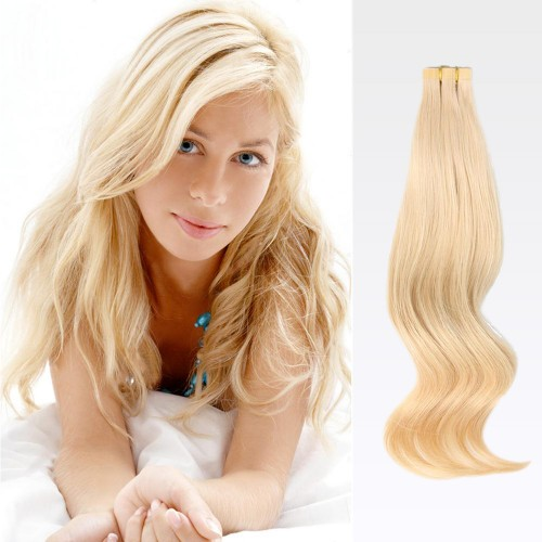 "14"" Ash Blonde(#24) 20pcs Tape In Human Hair Extensions"