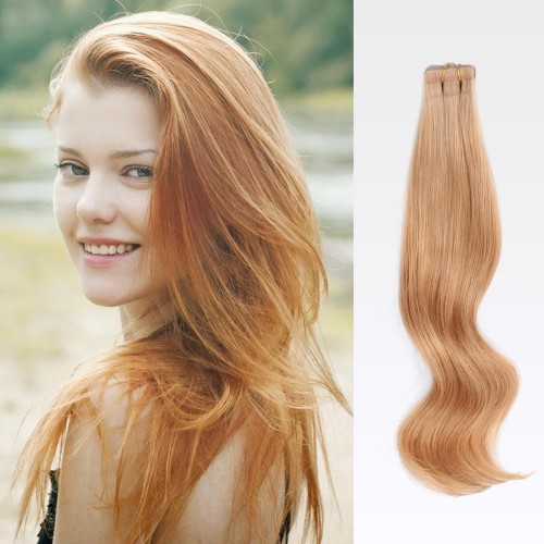 "26"" Strawberry Blonde(#27) 20pcs Tape In Human Hair Extensions"