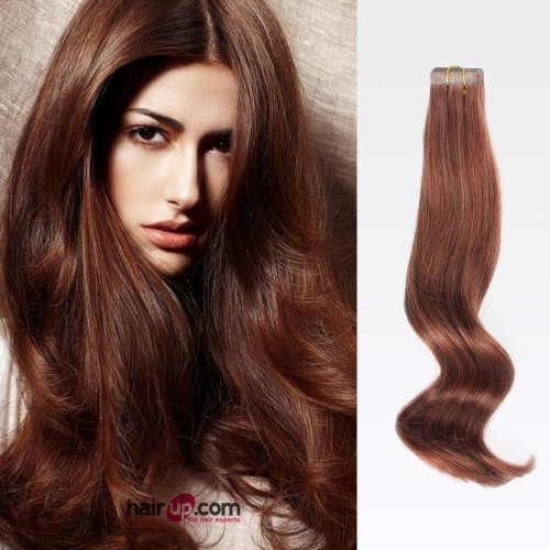 "16"" Dark Auburn(#33) 20pcs Tape In Human Hair Extensions"