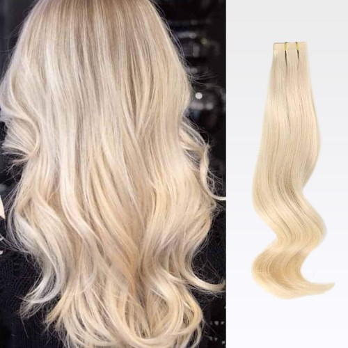 "22"" White Blonde(#60) 20pcs Tape In Remy Human Hair Extensions"