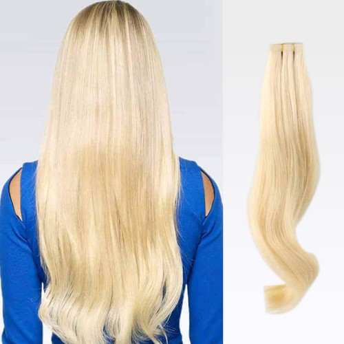 "22"" Bleach Blonde(#613) 20pcs Tape In Remy Human Hair Extensions"