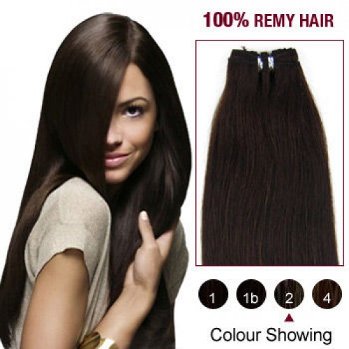 "20"" Dark Brown(#2) Light Yaki Indian Remy Hair Wefts"