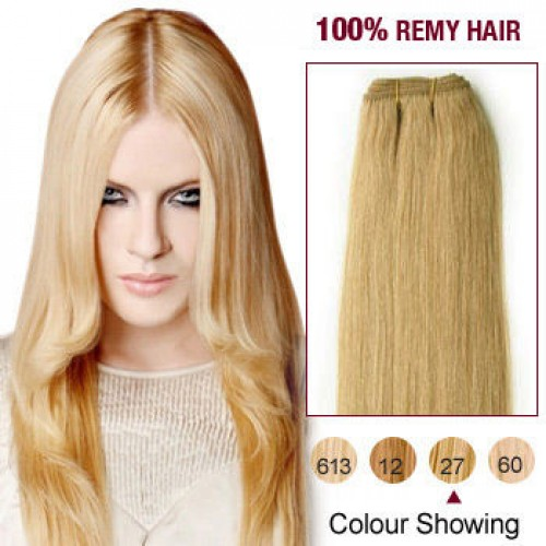 "16"" Strawberry Blonde(#27) Light Yaki Indian Remy Hair Wefts"