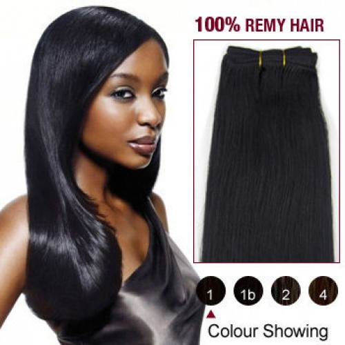 "20"" Jet Black(#1) Straight Indian Remy Hair Wefts"