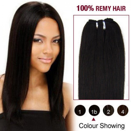 "16"" Natural Black(#1b) Straight Indian Remy Hair Wefts"