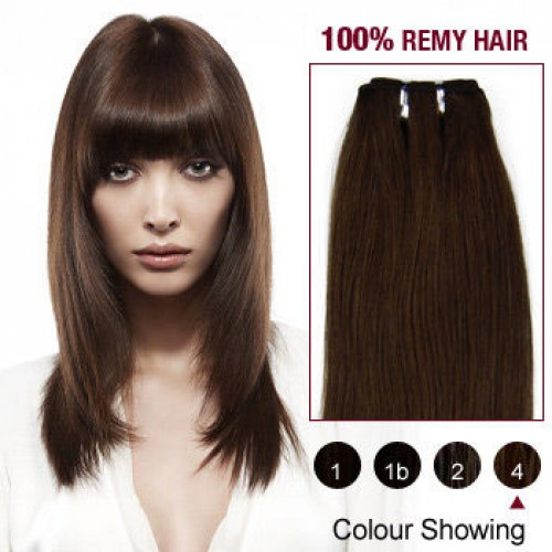 "18"" Medium Brown(#4) Straight Indian Remy Hair Wefts"