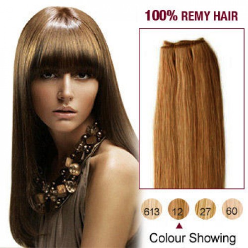 "16"" Golden Brown(#12) Straight Indian Remy Hair Wefts"