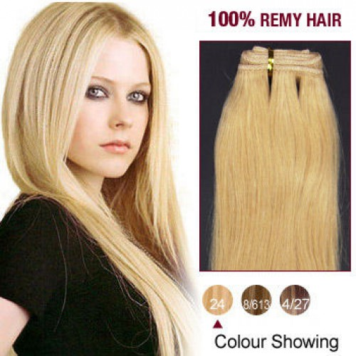 "14"" Ash Blonde(#24) Straight Indian Remy Hair Wefts"