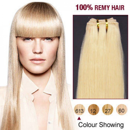 "20"" Bleach Blonde(#613) Straight Indian Remy Hair Wefts"